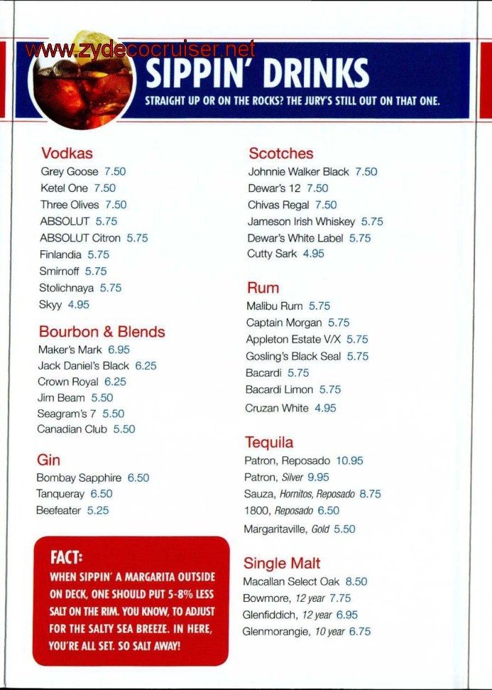 Carnival Cruise Bar Menu